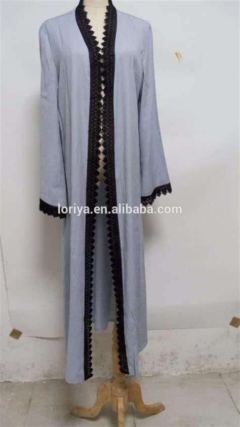 Longdress Muslim Kimono jilbab simple abaya kimono front open dubai style muslim
