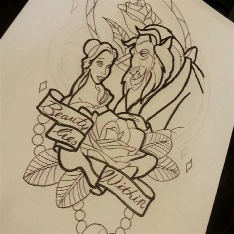 beauty and the beast tattoo ideas and the beast design by kimberleywarrentatto