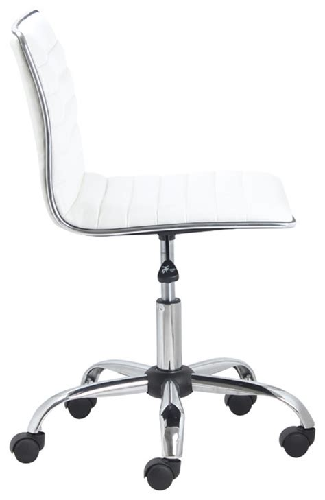 white leather armless office chair swivel mid back armless ribbed task leather chair white
