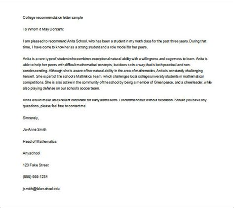 College Application Letter Of Recommendation Format Recommendation Letter For College Template Resume Builder
