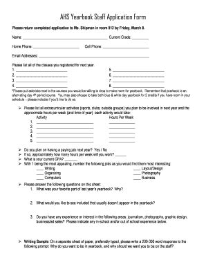 Yearbook Applications Fillable Auburnschools Ahs Yearbook Staff
