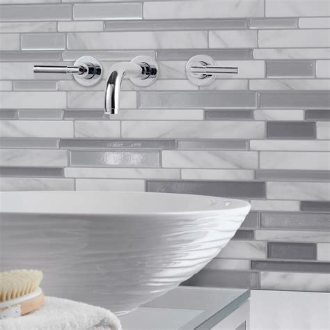 self adhesive kitchen backsplash tiles smart tiles milano carrera 11 55 in w x 9 65 in h peel