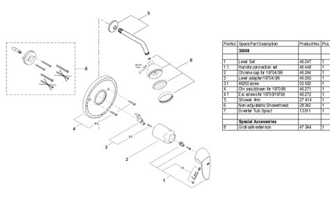 grohe 35 008 pressure balancing shower valve parts