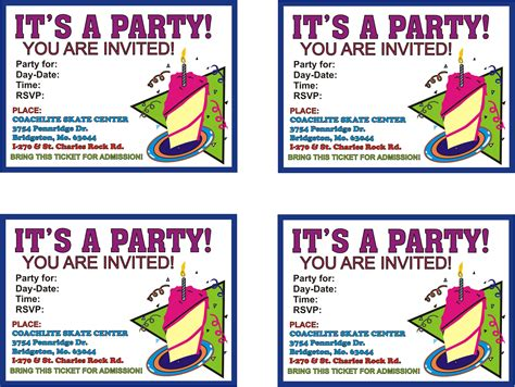 printable birthday invitations birthday parties coachlite skate center