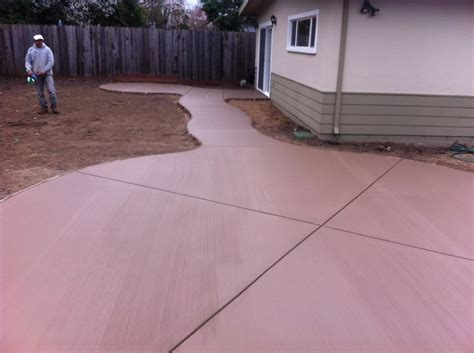 Smooth Concrete Patio by Colored Concrete With Broom Finish Yelp