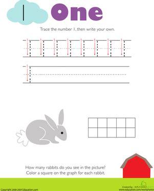 pre k worksheets number tracing preschool number one tracing numbers counting 1 worksheet education com