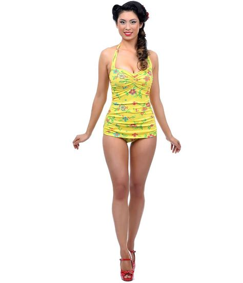Retro Inspired Bikinis by Vintage 1950s Style Pin Up Yellow Needlepoint Swimsuit