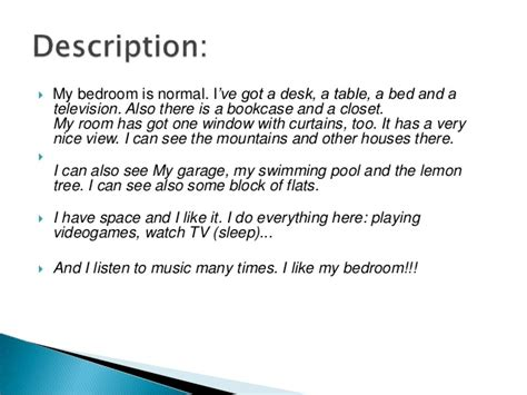 description of bedroom description of a room