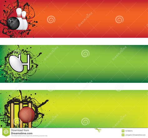 design banner bowling bowling rugby and cricket banner stock vector image