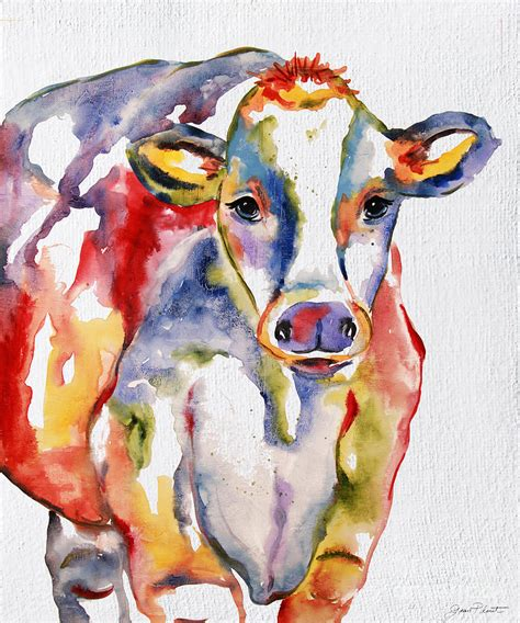 colorful cow painting colorful cow jp2490 painting by jean plout