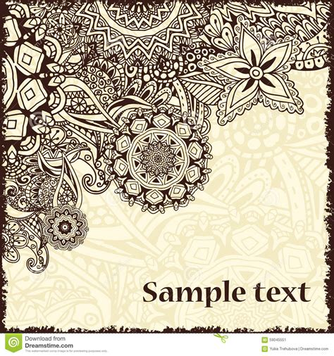 doodle vintage retro card with doodle vintage background stock vector