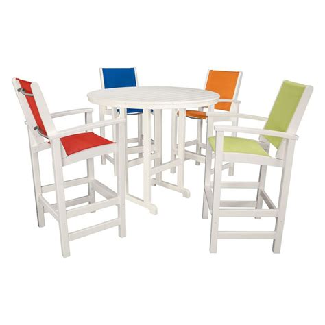 White Patio Dining Sets Shop Hanover Outdoor Furniture Nassau 5 White Plastic Bar Patio Dining Set At Lowes