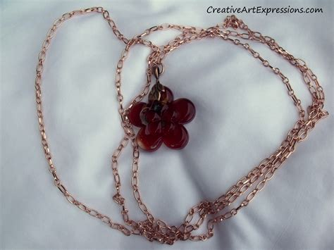 Handmade Flower Necklace - creative expressions handmade copper flower