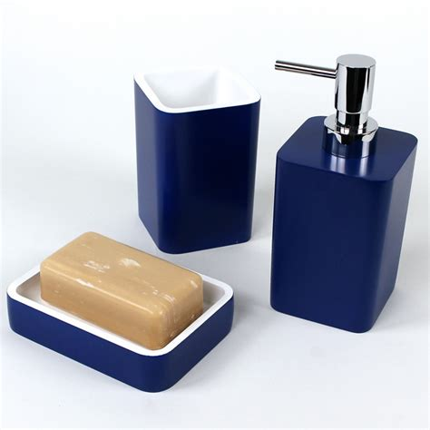 navy bathroom accessories district17 arianna 3 piece bathroom accessory set in navy