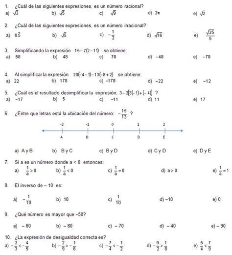 preguntas de matematicas en examen de admision gu 237 a de matem 225 ticas para el examen de ingreso a la unam