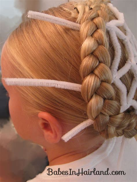 halloween hairstyles step by step spiderweb hairstyle for halloween babes in hairland