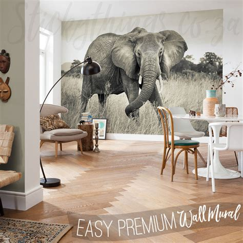african elephant wall mural sepia elephant wallpaper