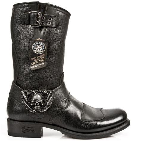 buffalo hide leather black buffalo hide leather biker boots w skull