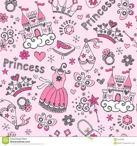 doodle doodle do the princess lost shoe tale princess seamless pattern sketchy doodl stock