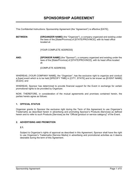 sponsorship agreement sponsorship agreement template sle form biztree