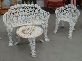 4pcs antique cast iron garden furniture includes benc lot 27