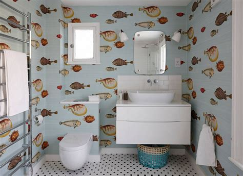 Bathroom Wallpaper Fish by 20 Designs Of Stylish Bathroom Wallpapers Home Design Lover