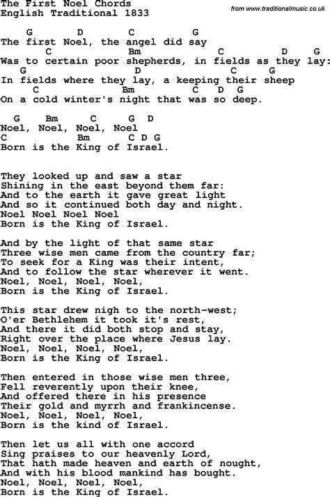 noel noel testo song lyrics with guitar chords for the noel trad