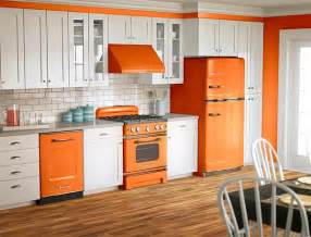 kitchen designs orange and white is a popular color