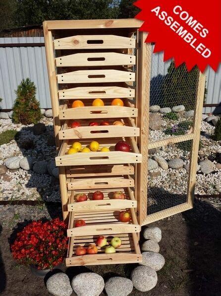 wooden apple storage rack fruit veg  drawers wine