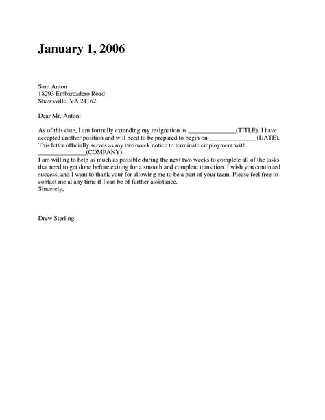 notice letter two weeks notice resignation letter sles