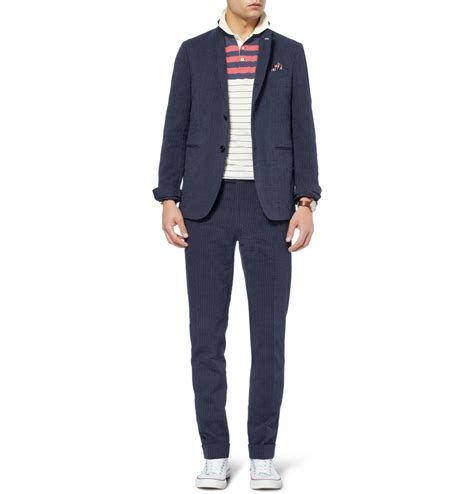 Navy Blue Rayleigh Medium Square Slim Backpack gant rugger navy slim fit cotton blend suit jacket in blue for lyst