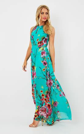 60s Spiro Printed Maxi Dress In Blue And Purple by Eryn Turquoise Floral Printed Maxi Dress Silkfred