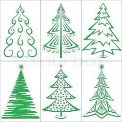 christmas trees winter holiday symbols set isolated