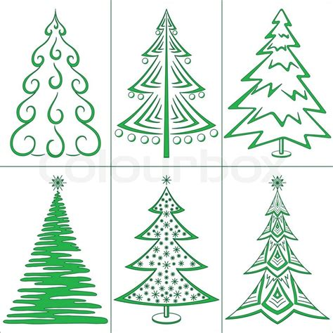 trees winter symbols set isolated stock photo colourbox