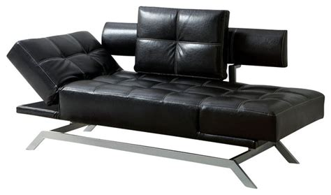 Black Futon With Arms Black Leatherette Functional Futon Sofa Chaise With Adjustable Arms Chrome Legs Contemporary
