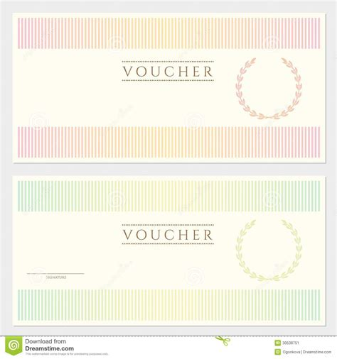 voucher coupon template with stripy pattern stock image