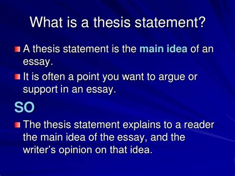 where is the thesis statement typically found in an essay thesis statement middle school powerpoint mla research