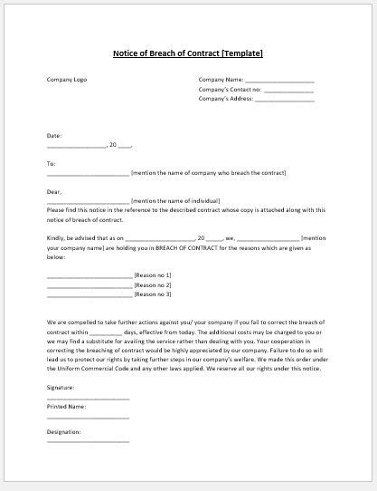 breach of contract notice template ms word microsoft