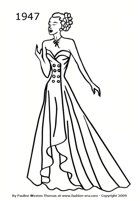elegant dresses coloring pages costume history silhouettes 1940s free line drawings