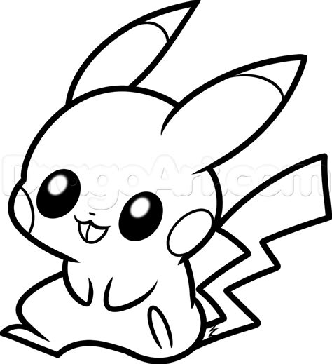 How To Draw Baby Pikachu Step By Step Pokemon Characters Anime Draw Japanese Anime Draw Drawing Pages