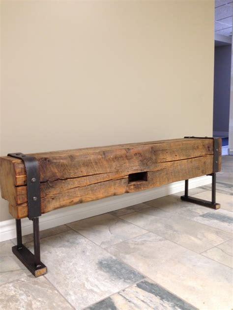 barn bench industrial inspired reclaimed barn beam bench