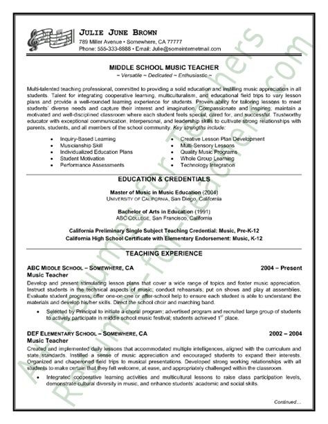 music teacher resume sle