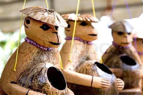 cute wooden monkeys doll   coconut shell  nice