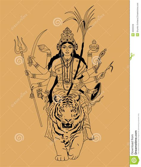 indian goddess durga stock vector illustration of