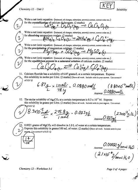 Solubility Worksheet Answers by Printables Solubility Worksheet Ronleyba