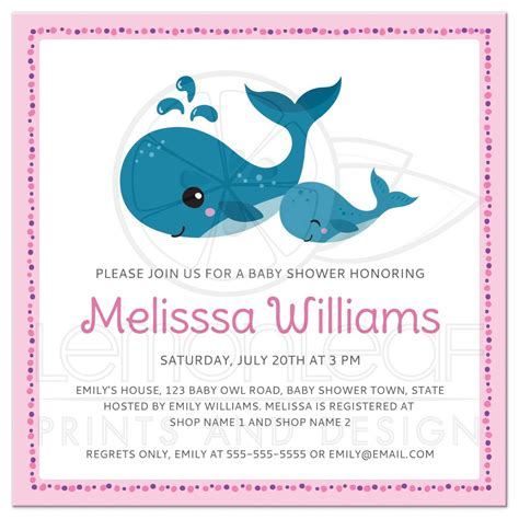 Baby Shower Invitations In by And Baby Whales Pink Baby Shower Invitation