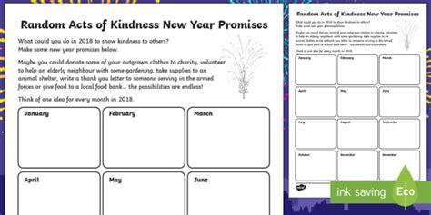 new year writing activities ks2 ks2 random acts of kindness new year promises writing