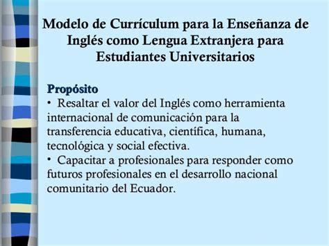 Modelo De Curriculum Para La Ense 241 Anza Universitaria De Ingl 233 S Como L