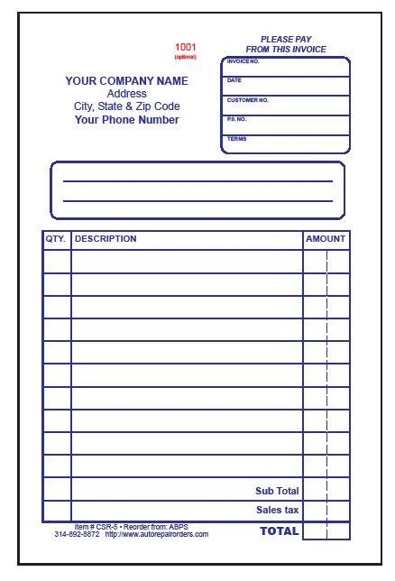 car parts receipt template make free printable receipt also available in 3 part