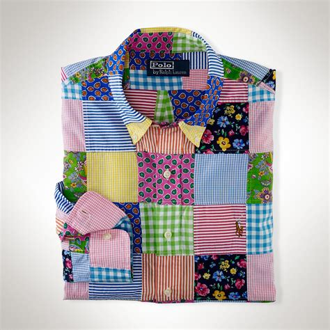Patchwork Products - polo ralph custom patchwork shirt in multicolor for
